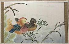 New listing Nice Vintage Mandarin Duck Japanese Painting On Silk 34� X 21 1/2�.