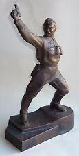 Russian Soviet sculpture POLITRUK OFFICER WWII statue figurine coppered metal