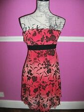 JANE NORMAN coral red  black FLORAL SUMMER BANDEAU HANKY HEM  DRESS 14 12 10