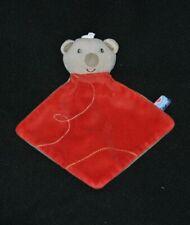 Peluche doudou ours koala plat SUCRE D'ORGE rouge gris NEUF