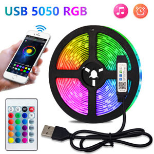 RGB LED TV Strip Lights USB 2835 5V TV Backlight Lamp 24 Key Remote Phone App