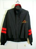 Vintage Winston Racing Team Logo Jacket sz L Black Red Wind Breaker NASCAR