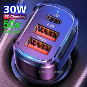 50x Dual USB PD Type-C Car Charger 30W Fast Charge Adapter For iPhone 11 Pro Max
