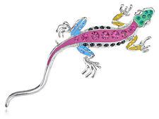 Rhinestone Pin Brooch Jewelry Gifts Color Enamel Silver Lizard Reptile Crystal
