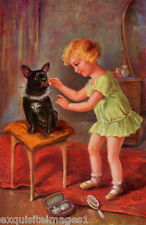 Vintage Art~Young Girl Puts Makeup on French Bulldog Puppy Dog NEW Lg Note Cards