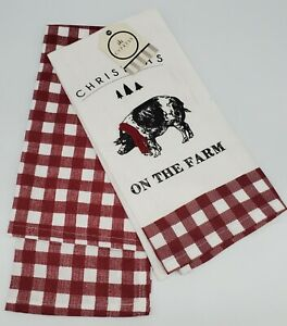 CYPRESS HOME *Set of 2*  Flour Sack Dish Towels, Christmas On The Farm Embrodery