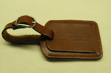 Genuine Leather Microsoft Business Solutions luggage tag ID Houndstooth lined