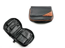 Black Leather Combination 4 Pipes Pipe Bag Case With Tobacco Pouch