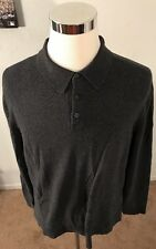 EDDIE BAUER MENS LARGE CHARCOAL COTTON/CASHMERE BLEND LONG SLEEVE POLO SHIRT
