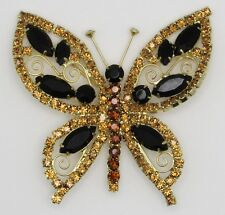 Vintage Large Prong-Set Rhinestone Butterly Brooch/Pin Amber, Citrine, Black