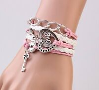 Infinity Love Heart Key Lock Friendship Antique Silver Leather Charm Bracelet