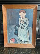 Vintage Picasso Print with Wood Frame- Child with a Dove, 1901 by Pablo Picasso
