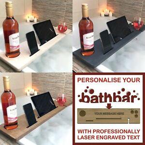 Wooden Bath Tray Shelf Bath Caddy Bar Bath tub Board Wine Glass Phone Tablet