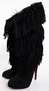 Christian Louboutin Black Fringe Suede Boots Women's Size 39 1/2 US 9.5