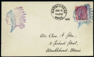 Indian Chief Fancy Cancel on Marblehead, MA Cover Extremely RARE - Stuart Katz