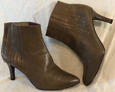Eva Sanchez Khaki Ankle All Leather Lovely Boots Size 40 (603QQ)