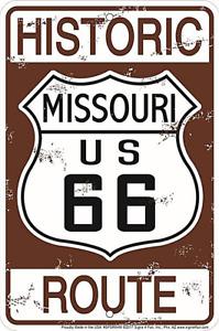 Historisch Route 66 Missouri Geprägt Aluminium Schild 300mm x 200mm(Sf)