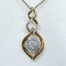 Genuine .52ctw H-SI Diamond 14K Yellow Gold 925 Sterling Silver Necklace 3.3g