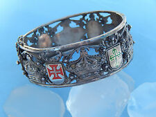 Vtg Topazio Portuguese 833 Silver Enamel Crown Cross Shield Bangle Bracelet 52g