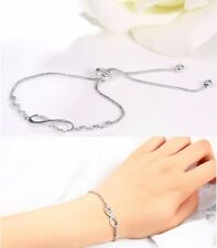 Adjustable Crystal Silver Infinity Friendship Bridesmaid Bracelet Cubic GIFT UK