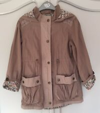 Girls M&S Light Brown / Beige Hooded Parka Coat / Jacket Age 9-10 Years