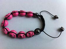 Bracelet shamballa tête de mort rose + pochette organza