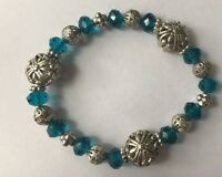 Blue Plastic Silver Color Metal Beaded Elastic Stretch Bracelet Jewelry 8""
