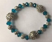 "Blue Plastic Silver Color Metal Beaded Elastic Stretch Bracelet Jewelry 8"""