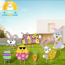 Ccinee 7Pcs Easter Bunny Eggs Yard Signs Multicolored for Outdoor Chick.
