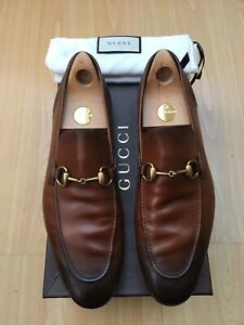 GUCCI MENS SHOES BROWN LEATHER LOAFERS JORDAAN HORSEBIT UK 11 45 SHADED