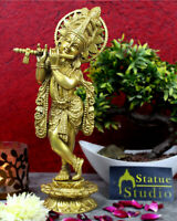 lord krishna with flute Brass hindu god deity for pooja religious décor idol 12""