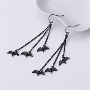 Women Halloween Bat Earrings Drop Dangle Hook Ear Stud Jewelry Y2