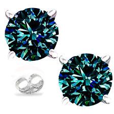 1.76 ct  vvs1+WHITE GRAY BLUE MOISSANITE DIAMOND 925 Sterling SILVER EARRINGS