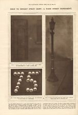 1918  ANTIQUE PRINT WW1 - DISCS TO REFLECT STRAY LIGHT, PARIS STREET EXPERIMENT