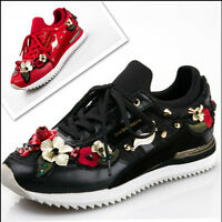 Womens Leather Luxury Rhinestone Embroidery Rivet Lace Up Casual Sports Shoes Nw