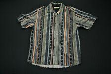 Tommy Bahama Silk Shirt Pineapple Stripes Hawaiian Men's Medium M