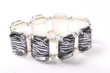 Moda Mujeres De colección patrón De Cebra Grandes Perlas Pulsera Elástica (T220)
