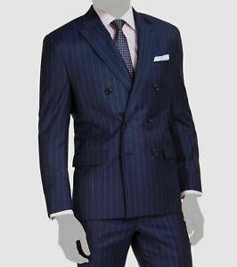 Lauren Ralph Lauren UltraFlex Navy Stripe Double-Breasted Suit Jacket 40R $450