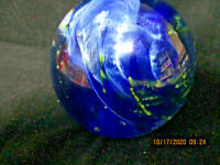 VINTAGE LARGE ART GLASS PAPERWEIGHT MULTI COLOR EARTH GALAXY CLOUDS