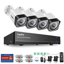 SANNCE 720P 1500TVL HD-TVI Cameras 4CH DVR Home Security System H.264 In/Outdoor