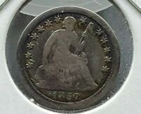 1857 5c Seated Liberty Silver Half Dime Coin Choice Fine PQ Circ Toning Toner