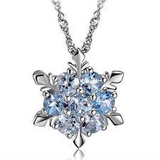 Mujer Elegante Gargantilla Collar Colgante Cristal Azul Copo Nieve Flor Necklace