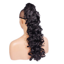 """22"""" PONYTAIL Clip in Hair Piece CURLY Darkest Brown #2 Claw Clip"""