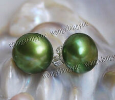 Genuine 8.5-9mm Green Akoya Pearl Bread  Shape Silver Stud Earrings, AAA+
