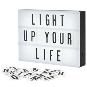 A4 LIGHT UP LETTER BOX CINEMATIC LED SIGN WEDDING PARTY NUMBER PLAQUE SHOP EMOJI