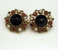 FLORENZA COSTUME JEWELRY VINTAGE CLIP ON EARRINGS  PEARLS BLACK CABOCHON SIGNED