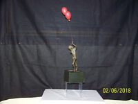 RARE--Curtis Jere c1969 Solid Bronze Sculpture Boy w/Balloons Signed & Dated