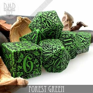 Forest Green Dice Set   Dungeons and Dragons   DND DICE   Q-Workshop
