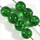 Lot de 30 perles Craquelées en Verre de Bohème 8mm Vert