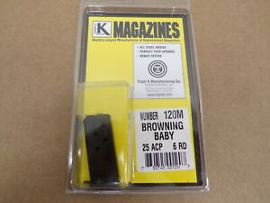 Browning Model Baby Browning, 25 ACP 6 Rd Magazine by Triple K #120M